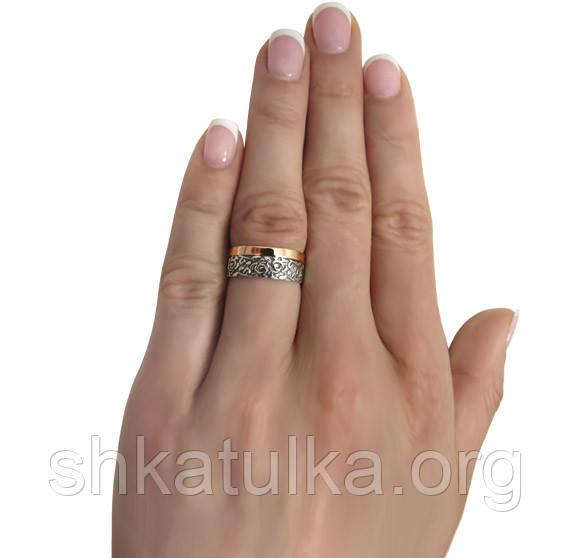 9bb73f5107a2 (Пара) Серебряные обручальные кольца с золотыми пластинами