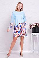 Нарядное женское голубое платье трапеция с цветами,длинный рукав Букет голубой Тана-1Ф (шифон) д/р