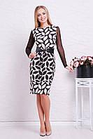 Стильное женское платье футляр с длинным рукавом в сетку принт Бежевый лист Лоя-3ФСП д/р