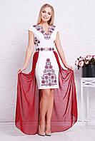 Нарядное женское белое платье футляр большие размеры, с длинным бордовым шлейфом Бордо орнамент Аркадия-Б б/р