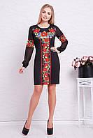 Женское черное приталенное платье в орнамент с длинным рукавом Красные маки Талина д/р