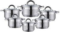 Набор кухонной посуды из нержавеющей стали 12 предметов Blaumann BH-0717