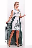 Нарядное женское белое платье футляр большие размеры, с длинным зеленым шлейфом Орнамент-изумруд Аркадия-Б б/р