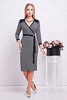 Элегантное черное платье до колен с поясом на запах, принт гусиная лапка платье Исидора д/р