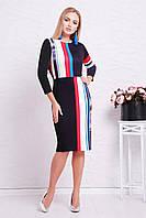 Стильное облегающее платье футляр до колен с ярким принтом Полоска Лия-3Ф д/р