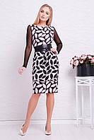 Стильное женское платье футляр с длинным рукавом в сетку принт Розовый лист Лоя-3ФСП д/р