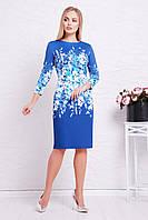 Женское нарядное синее приталенное платье до колен с цветочным узором Лия-1Ф д/р