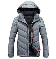 Серая мужская зимняя куртка пуховик на пуху