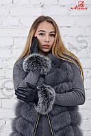 Зимние женские перчатки с мехом песца Черный