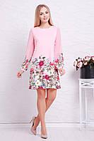 Женское трикотажное платье с рукавами из шифона, розовое, с цветочным принтом, размер 44, 46, 48