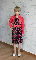 Детское платье в красные сердца с болеро р.128 Французский трикотаж