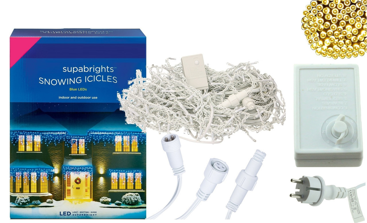 Новогодняя гирлянда Бахрома 200 LED, Белый теплый свет 10 м