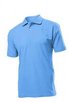 Поло-футболка голубая