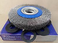 Щетка по металлу дисковая 150*18*22 для КШМ гофрированая