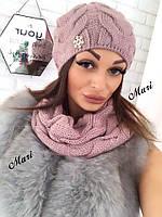 Комплект женская шапка и шарф