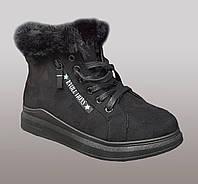 Женские зимние ботинки с мехом на шнурках
