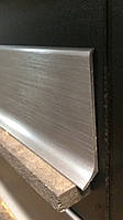 Алюминиевый плинтус 90/6 шлифованный Титан (клеющийся) 10х60 мм