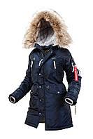 Оригінальна жіноча куртка аляска N-3B Vega Airboss 17300783127 (синій металік)