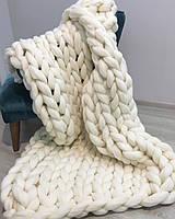 Плед КРУПНОЙ ВЯЗКИ 100X120 см. 100% шерсть мериноса