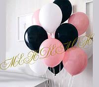 Черно-бело-розовые шары 50 см.