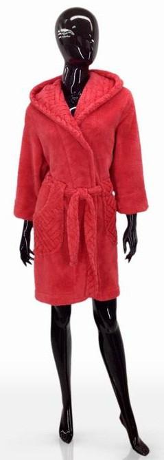 Практичный женский халат из микрофибры SOFT SHOW COLLECTION SS1204-41,  размер L, цвет розовый.