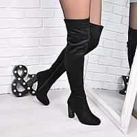 Сапоги женские ботфорты Fairy черные 3771 ,