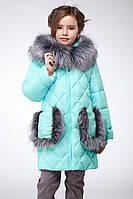 Зимняя стеганая куртка Бетт мятного цвета 116-158р
