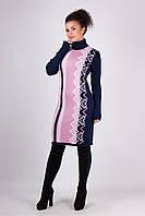 Вязаная женская туника, платье Корица, синий+розовый, фото 1