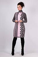 Вязаная женская туника, платье Корица, графит + розовый, фото 1