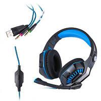 Наушники игровые Gaming Beexcellent Headset GM-2 с микрофоном и подсветкой Blue