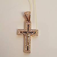 Крест Золотой с камнями черными и белыми и распятием  вес 6.48 грамм