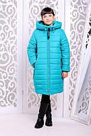 Теплое пальто «Ангел» для девочки 8 ,12 лет (зимняя коллекция 2017/18 размер 34, 42 / 128, 152 см) ТМ MANIFIK Бирюзовый