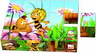 Деревянные кубики Пчелка Майя 15 штук, 13617, Bino