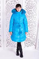 Теплое пальто «Шейла» с опушкой для девочки 7 лет (мех - енот, зима 2017/18, р. 32 / 122) ТМ MANIFIK Бирюзовый
