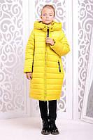 Теплое пальто «Ангел» для девочки 7-12 лет (зимняя коллекция 2017/18 размер 32-42 / 122-152 см) ТМ MANIFIK Желтый