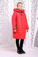 Теплое пальто «Ангел» для девочки 7-12 лет (зимняя коллекция 2017/18 размер 32-38 / 122-140 см) ТМ MANIFIK Красный