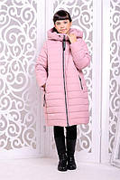 Теплое пальто «Ангел» для девочки 7, 12 лет (зимняя коллекция 2017/18 размер 32, 40 / 122-146 см) ТМ MANIFIK Розовый