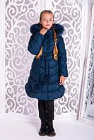 Теплое пальто «Шейла» для девочки 7-11 лет (зимняя коллекция 2017/18 размер 32-40 / 122-146 см) ТМ MANIFIK Морская волна