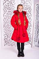 Теплое пальто «Шейла» для девочки 7-13 лет (зимняя коллекция 2017/18 размер 32-40 / 122-146 см) ТМ MANIFIK Красный