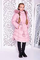 Теплое подростковое пальто «Шейла» для девочки 13 лет (зимняя коллекция 2017/18 р. 40 / 146) ТМ MANIFIK Пудра