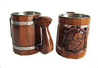 Кружка пивная деревянная оригинальный подарок, фото 1