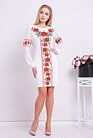 Женское трикотажное платье,белое, с принтом маки, размер 44, 46, 48