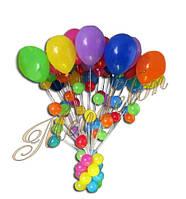 Букет из разноцветных шаров с подвесками  20 шт.
