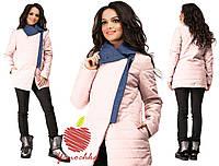 Женская демисезонная куртка с отделкой из джинса