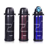 Термос большой спорт бутылка Sport с разными поильниками (2 шт) и шнурком для носки на плече 800 мл Черный