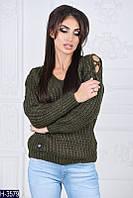 Стильный  свитер хаки крупной вязки. Арт-12318
