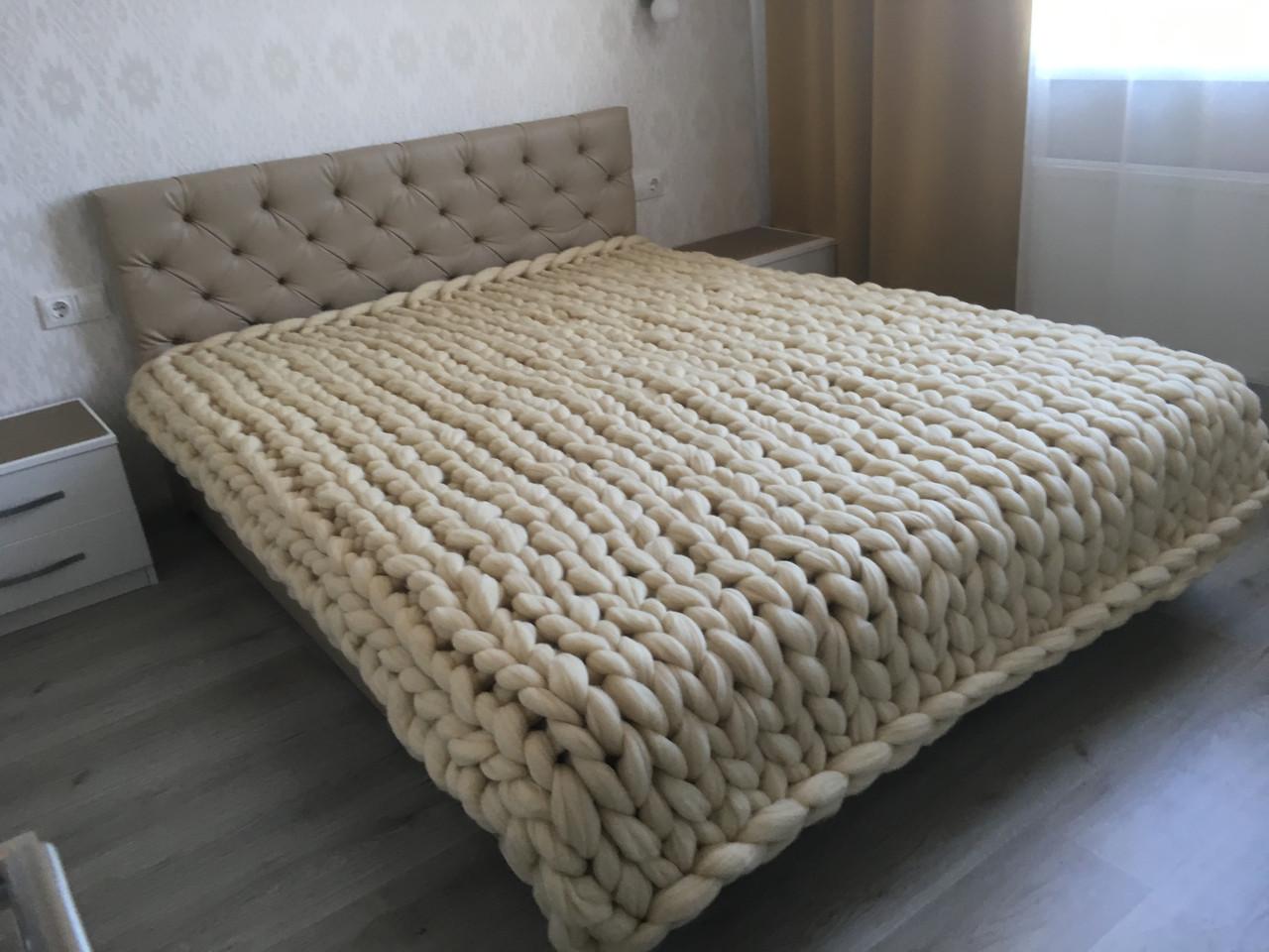 пледик крупной вязки в коляску кроватку 100 шерсть мериноса