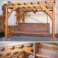 Деревянная садовая качеля — пергола