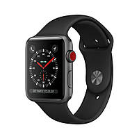 Apple Watch Series 3 GPS+LTE 42mm Space Gray Aluminum Case with Black Sport Band MQK22 [42mm|Black Sport Band]