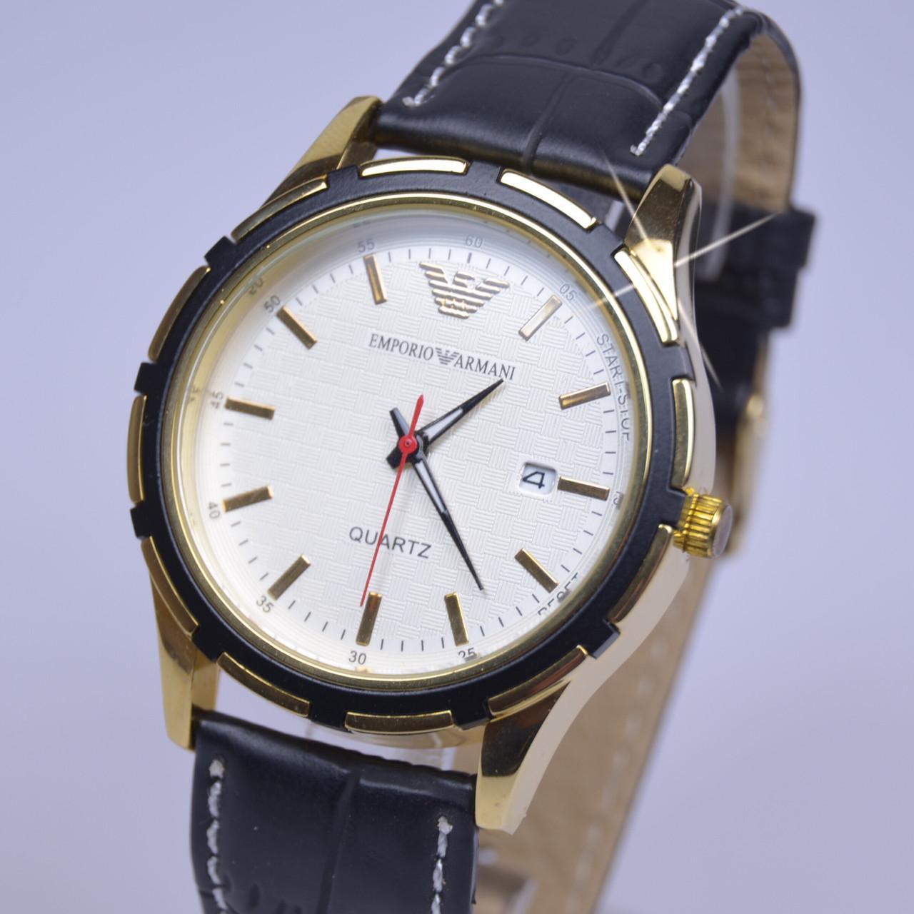 Мужские наручные часы Armani Gold календарь (реплика) черный ремешок